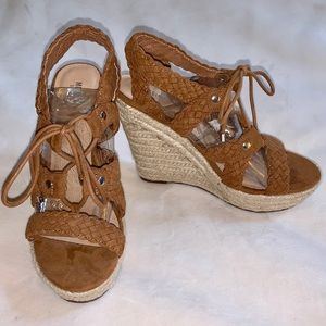 """Lace-Up Wedge Sandals - 5"""" Heel.  Never Worn"""